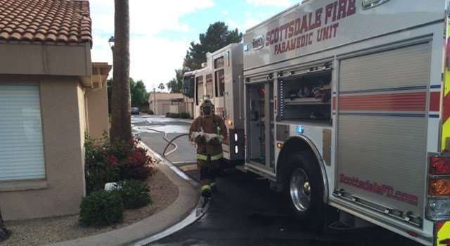 A firefighters carries one of the injured animals from the house. (Source: Scottsdale Fire Department)