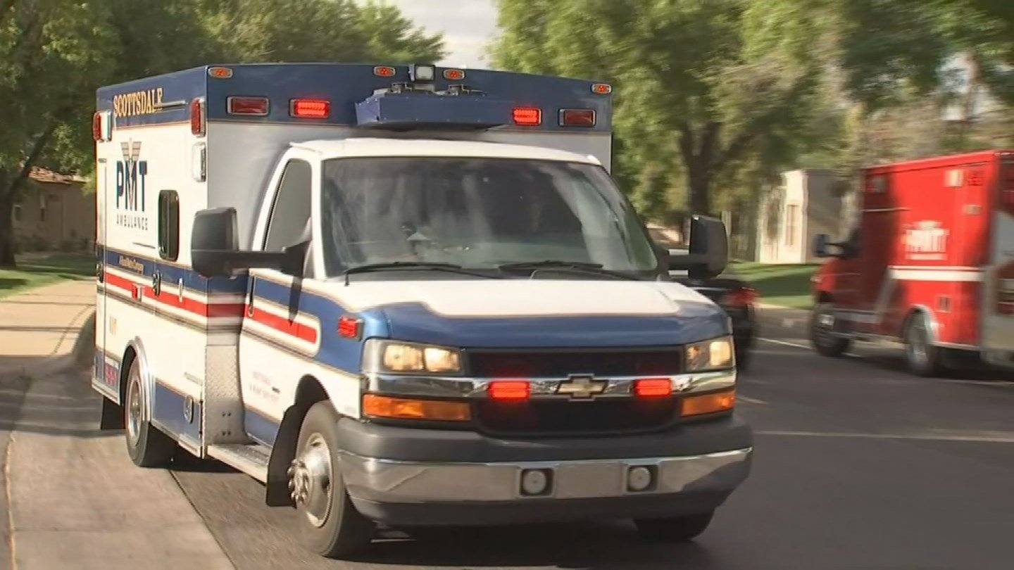 The woman was taken to the hospital. Her condition was not immediately available. (Source: KPHO/KTVK)