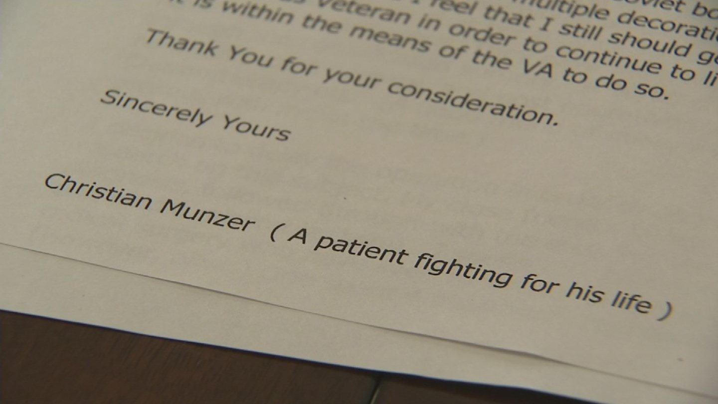 "In repeated letters to the Phoenix VA Health Care System, Christian Munster described himself as ""A patient fighting for his life."" (Source: KPHO/KTVK)"