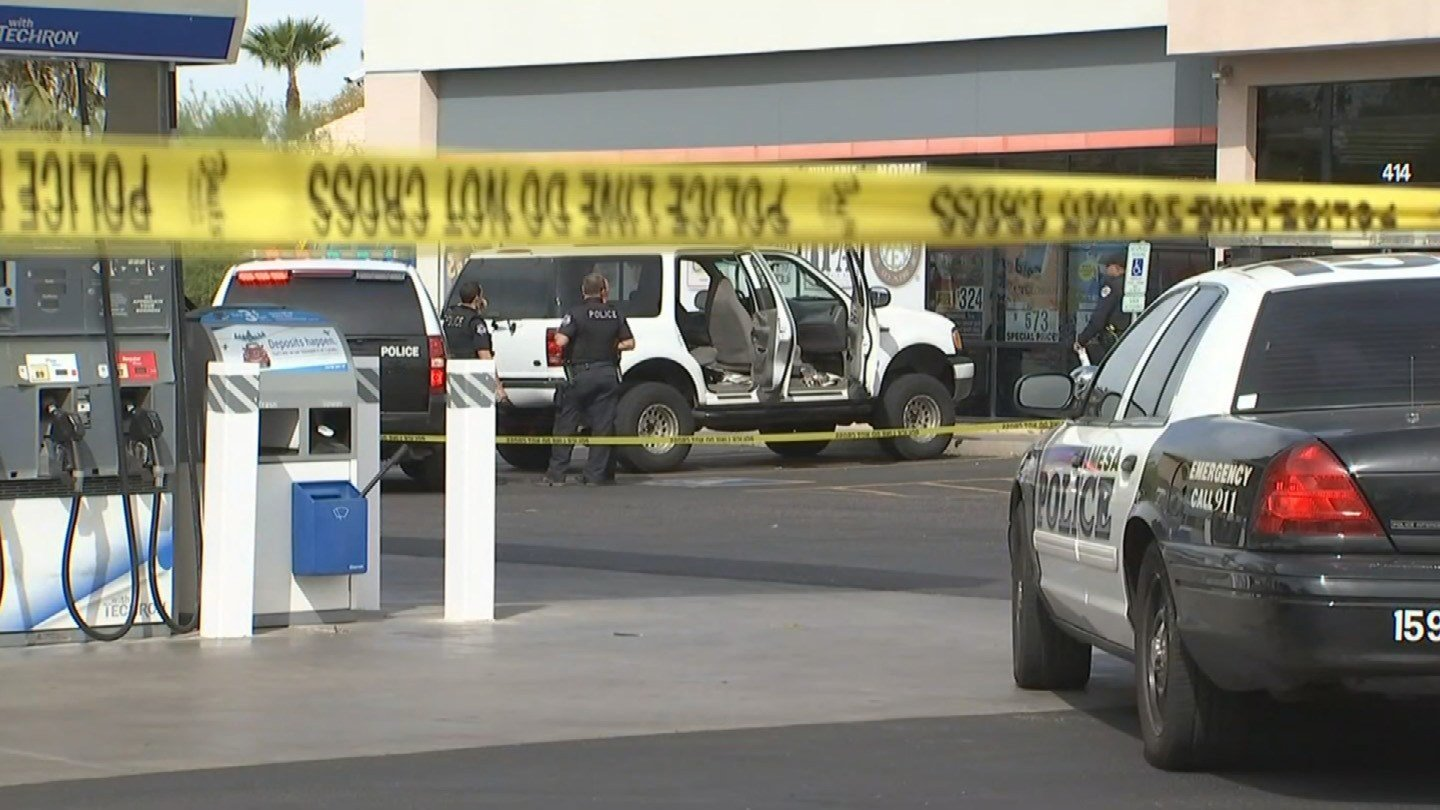 Police heard a gunshot coming the suspect's vehicle while parked at a gas station in Mesa. (Source: KPHO/KTVK)