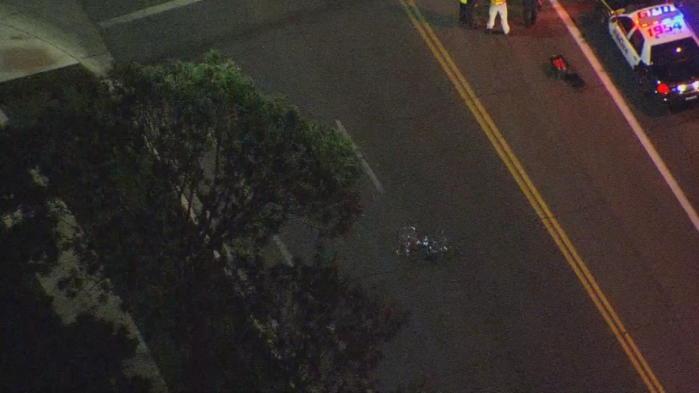 Police investigate a hit-and-run collision involving a car and a bicycle. (Source: KPHO/KTVK)