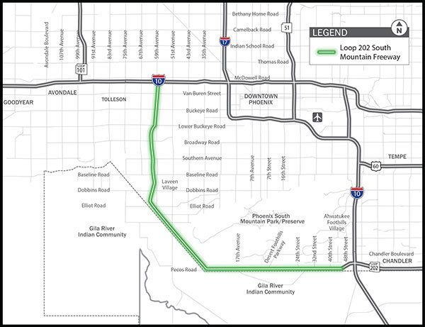 Map of the proposed South Mountain Freeway Loop 202 Extension (Source: ADOT)