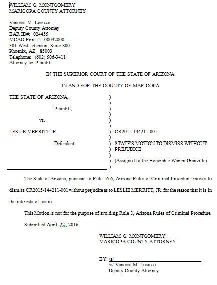 Court document tweeted by Merritt's lawyer, Jason Lamm. (Source: @PhxCriminalAtty)