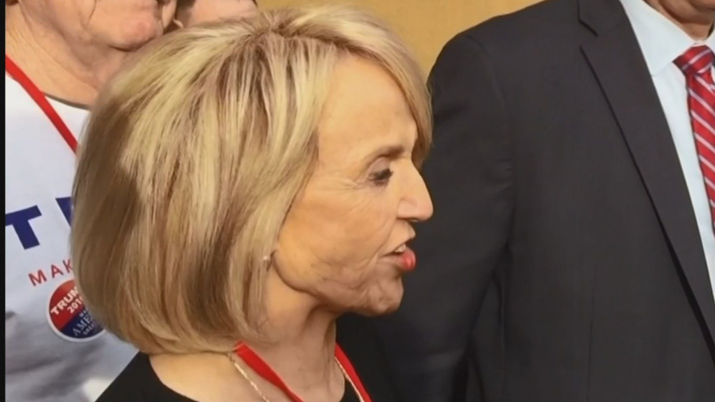 """""""The people of Arizona got cheated; I got cheated,"""" former Gov. Jan Brewer said during an impromptu press conference outside the Mesa Convention Center, the site of the GOP gathering. (Source: KPHO/KTVK)"""