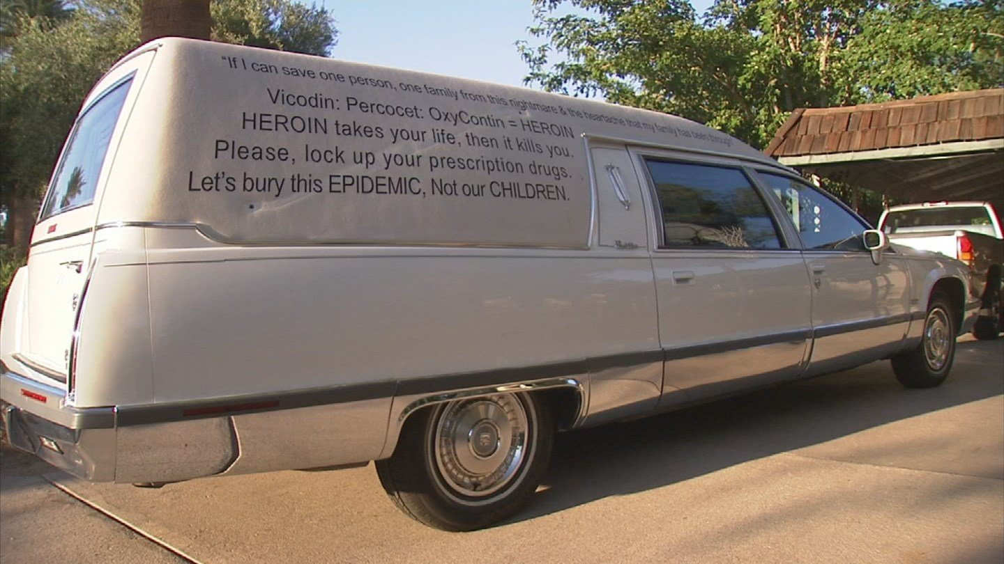 A hearse in the Valley is wrapped with an anti-opiate message (Source: KPHO/KTVK)