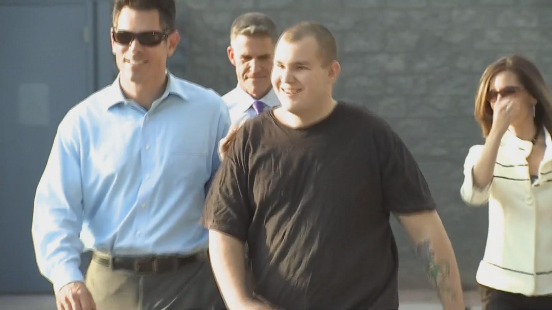 Leslie Merritt Jr. walks out of jail last month after all charges him were dropped.  (Source: KPHO/KTVK)