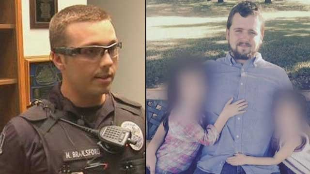 Former Officer Philip Mitchell Brailsford (left) is facing a murder charge in the shooting death of Daniel Shaver (right) during an incident at a Mesa hotel in January. (Source: KPHO/KTVK)
