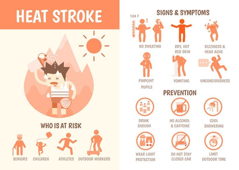 Signs and symptoms of heat stroke; click image to enlarge (Source: falara via 123 RF)