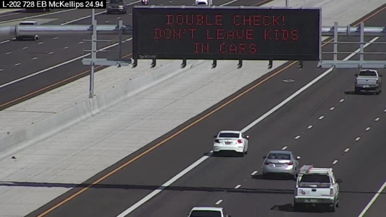 The Arizona Department of Child Safety is leading the 'Double Check!' campaign efforts. ADOT is supporting the AZDCS campaign with messages on the overhead signs. (Source: Arizona Department of Transportation)