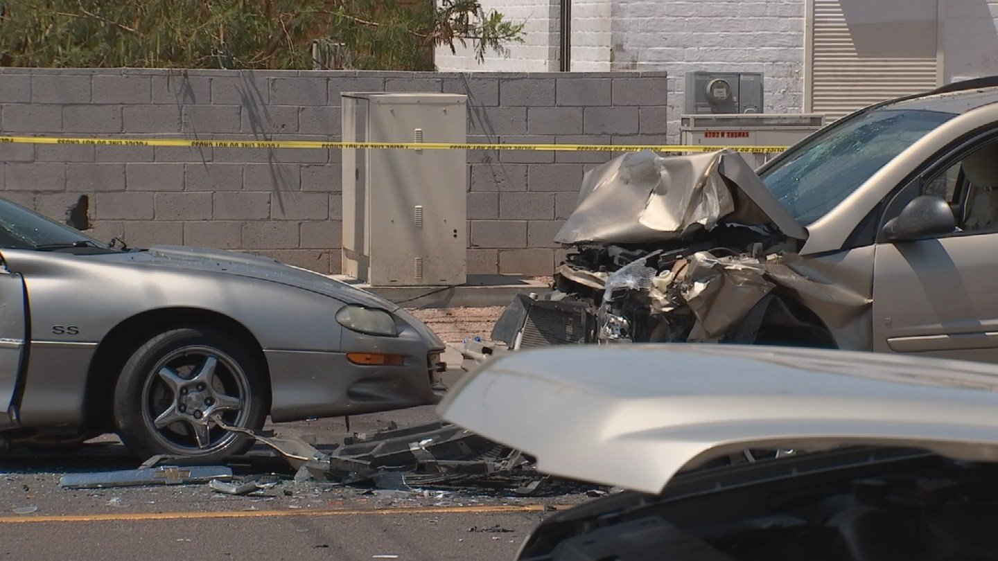 Police believe the Camaro driver lost control and was hit by a SUV. (Source: KPHO/KTVK)
