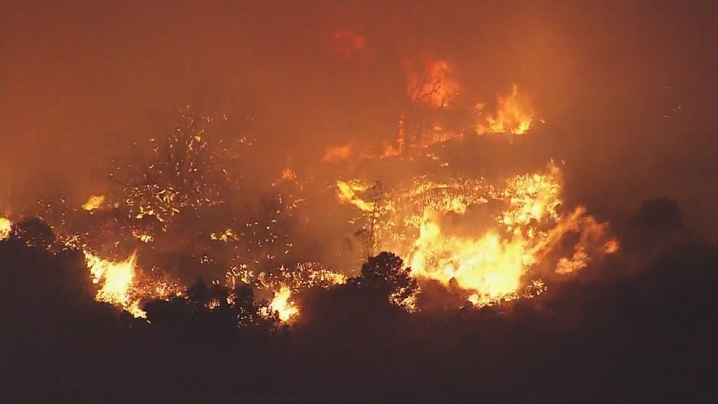 This is an aerial view of the flames 9:45 p.m. on Thursday, June 9. (Source: KPHO/KTVK)