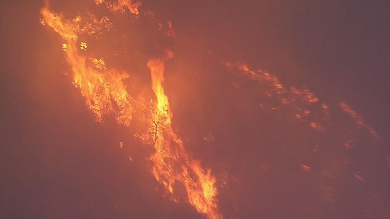 Flames lit up the night sky near Yarnell on Thursday. (Source: KPHO/KTVK)