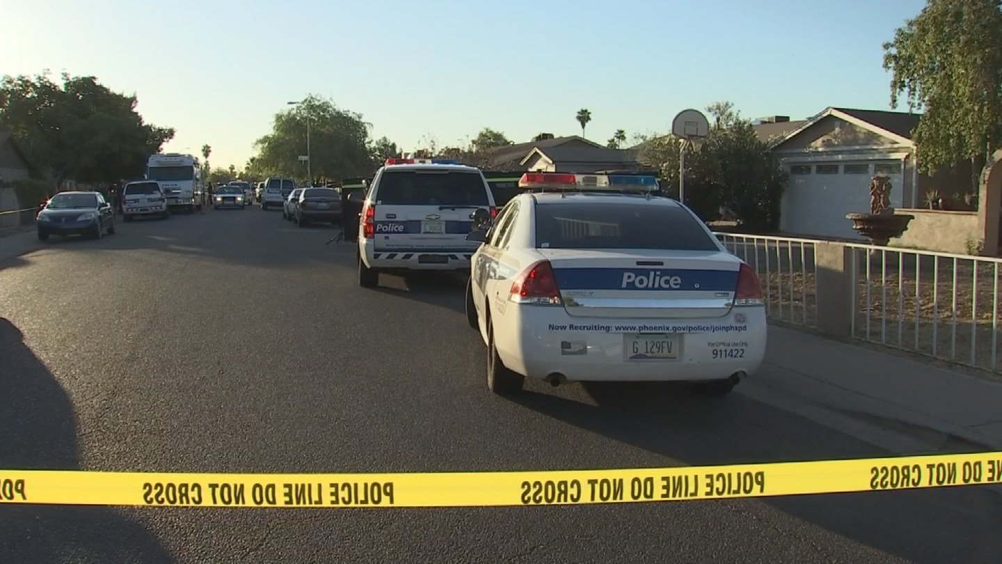 Two people are dead and one person is in critical condition after a shooting outside a west Phoenix home, according to Capt. Ardell Deliz with the Phoenix Fire Dept. (Source: KPHO/KTVK)
