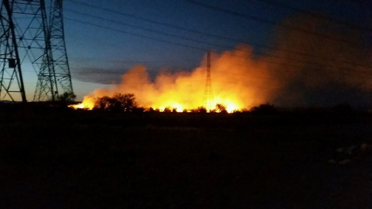 A brush fire burning in Surprise. (Source: Anne Fisher)