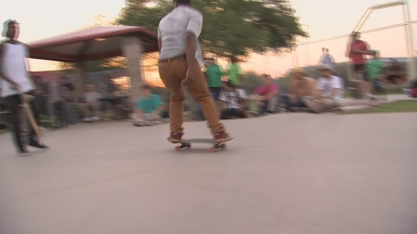 Skateboarders stayed cool with lots of water and a water-balloon fight. (Source: KPHO/KTVK)