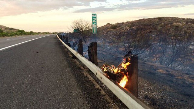 Flames burned right up to the roadway. (Source: Arizona Department of Transportation)