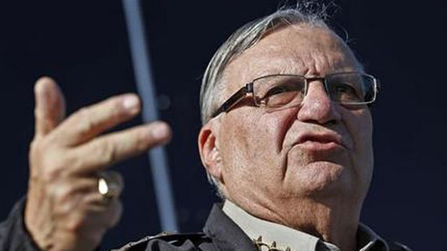 In this Jan. 9, 2013, file photo, Maricopa County Sheriff Joe Arpaio speaks to reporters in Phoenix.   (AP Photo/Ross D. Franklin, File)