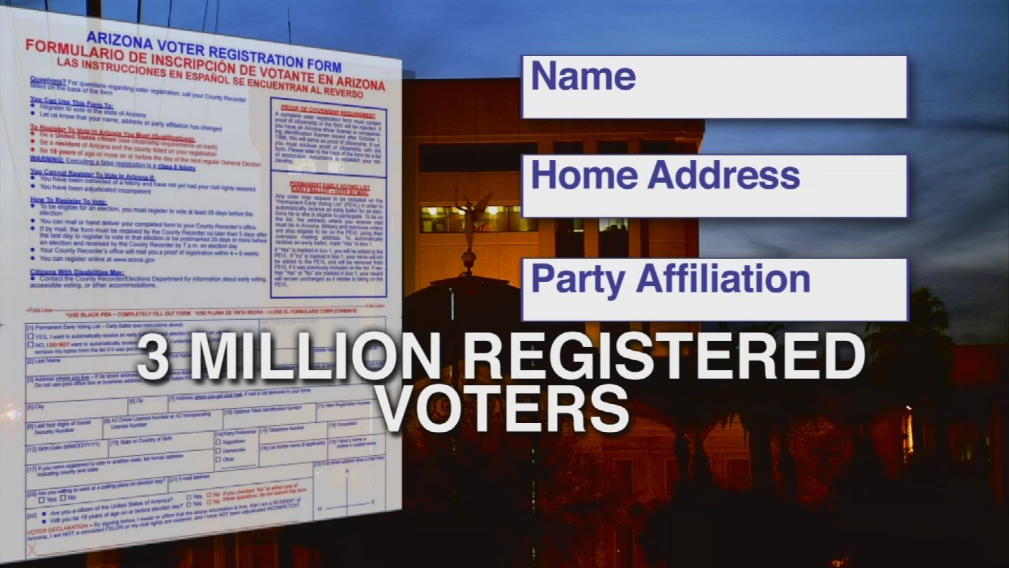 The voter registration database contains the name, home address, date of birth and party affiliation of the more than 3 million registered voters in the state of Arizona. (Source: KPHO/KTVK)