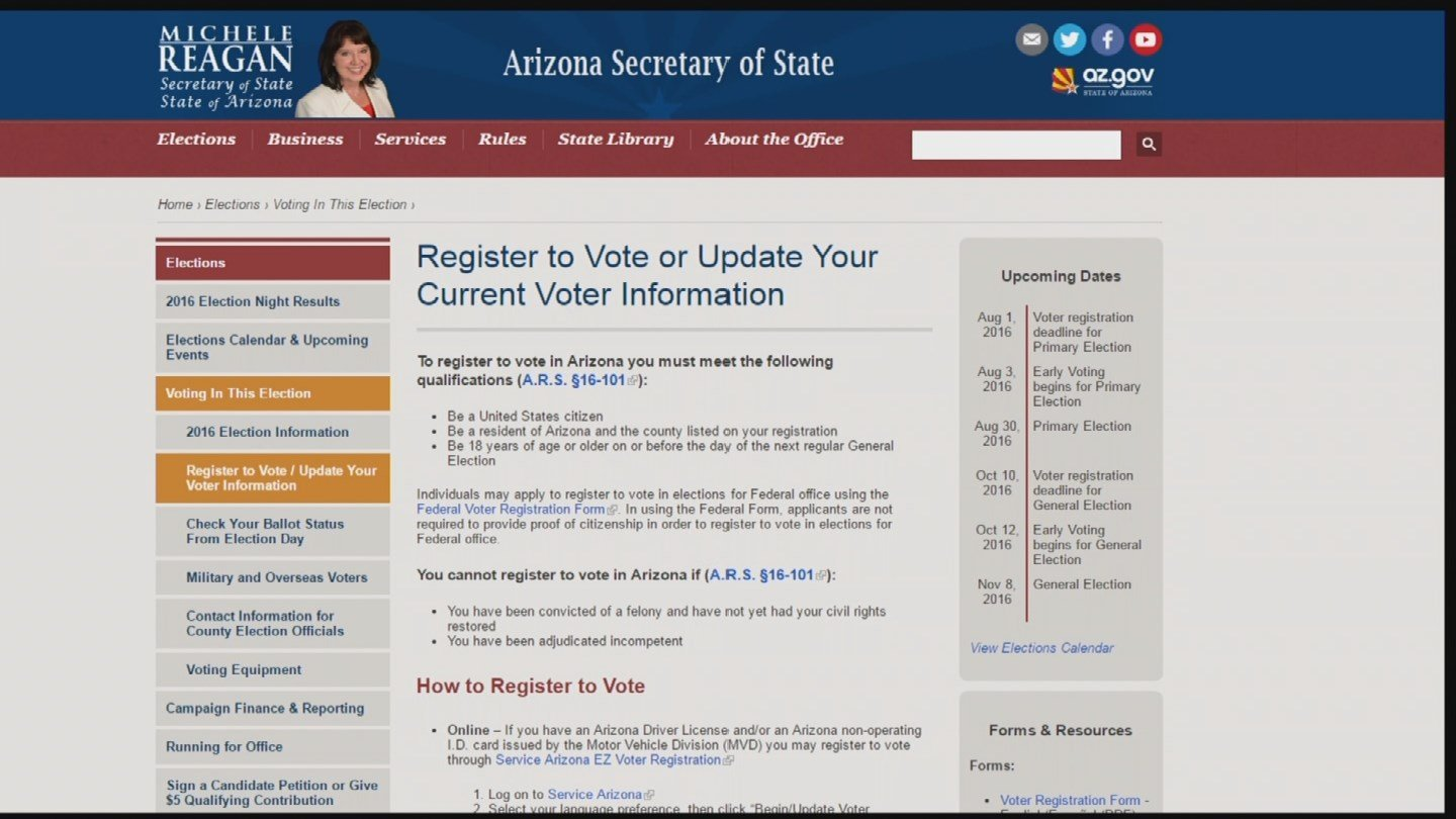 """""""We have not found any evidence of malware or command and control software in the voter registration system and haverestored its use,"""" Secretary of State Michele Reagan said in a statement. (Source: KPHO/KTVK)"""