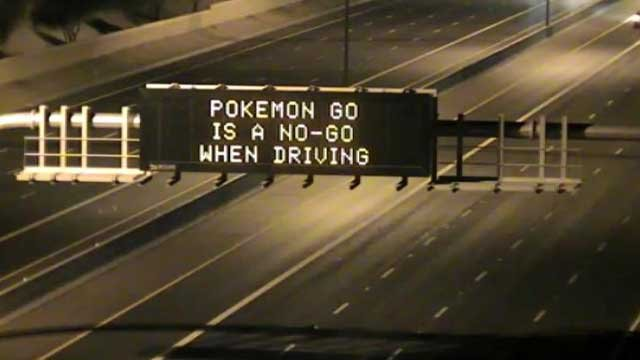 ADOT is reminding gamers that Pokémon Go is a no-go when driving. (Source: Arizona Department of Transportation)