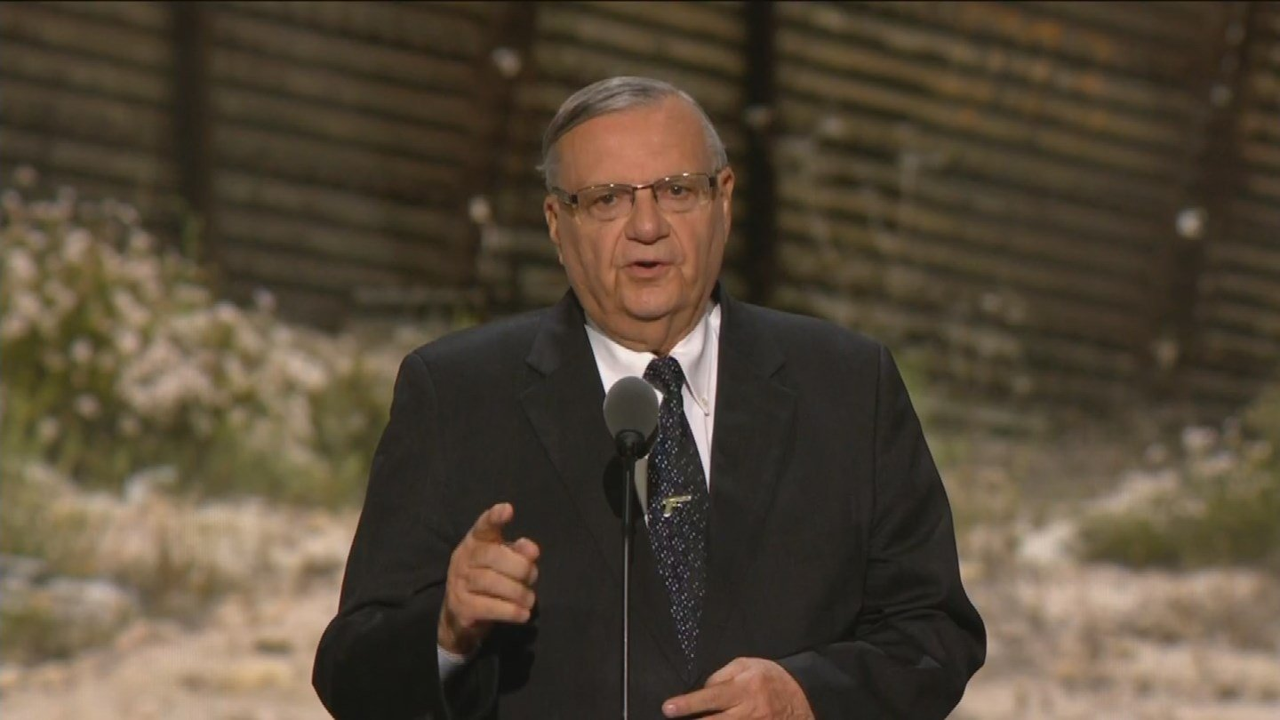 Arpaio gives a speech at the Republican National Convention on July 21, 2016 (Source: Pool)