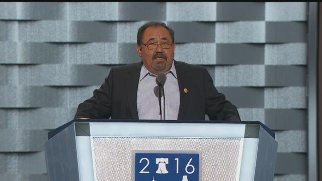 Rep. Raul Grijalva on stage during the first day of the Democratic National Convention (Source: KPHO/KTVK)