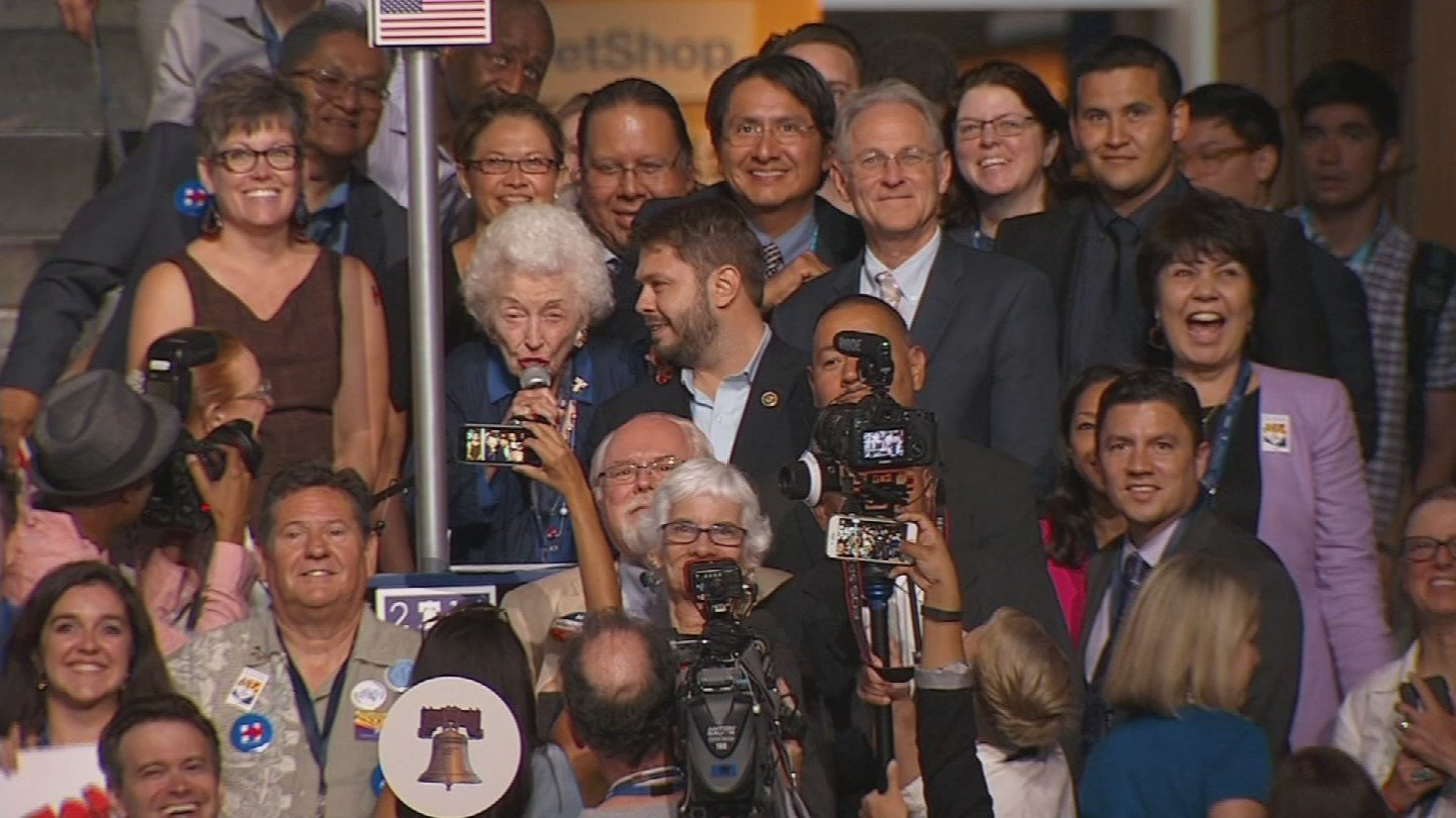 Jerry Emmett announced that the Arizona delegation was casting 51 of its votes for Hillary Clinton for president. (Source: CNN)