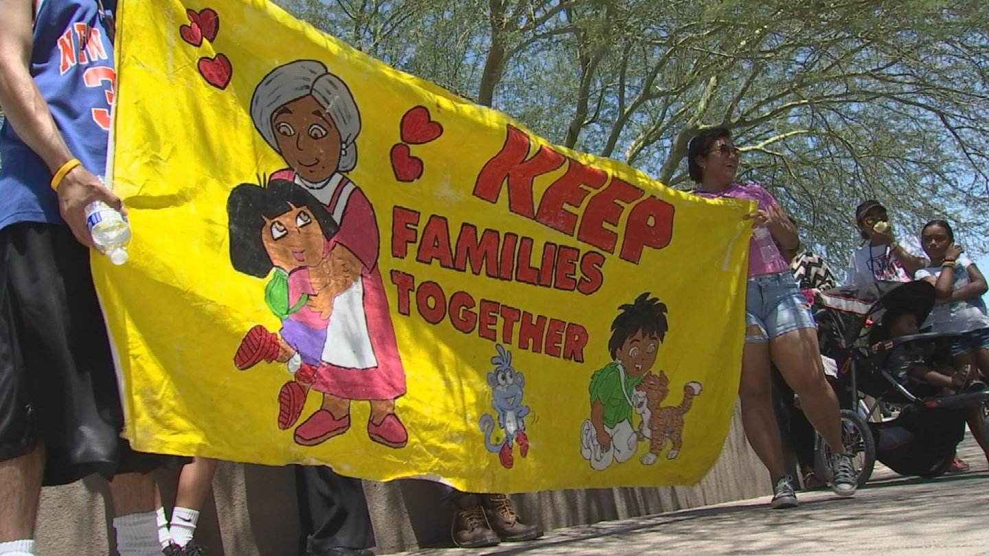 Family, friends and local activists staged a rally outside federal immigration offices in Phoenix and demanded the release of Elva Bernal, who has lived in the country illegally for 30 years. (Source: KPHO/KTVK)