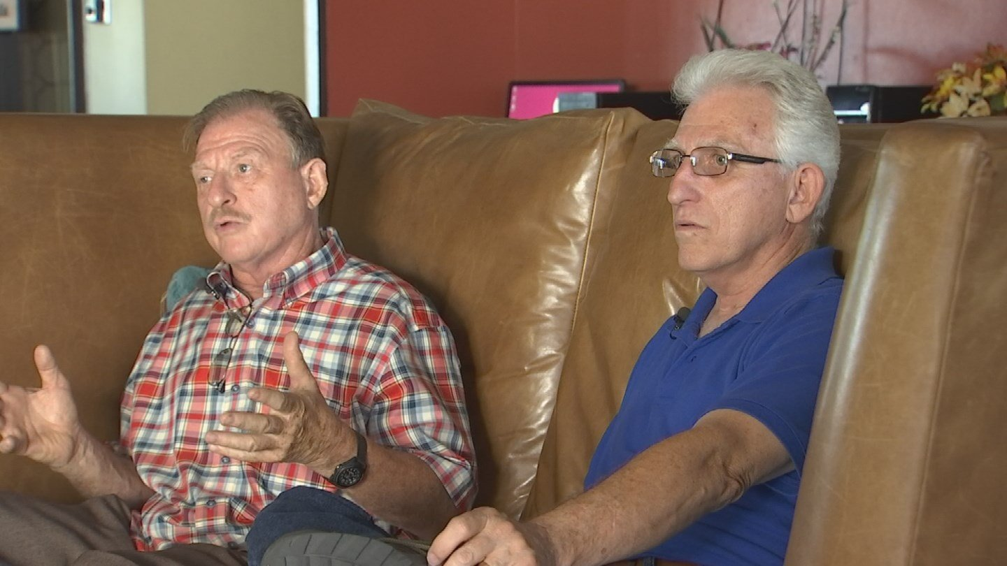 David Barr, left, and Mark Cochran, right, met for the first time after more than 60 years apart. (Source: KPHO/KTVK)