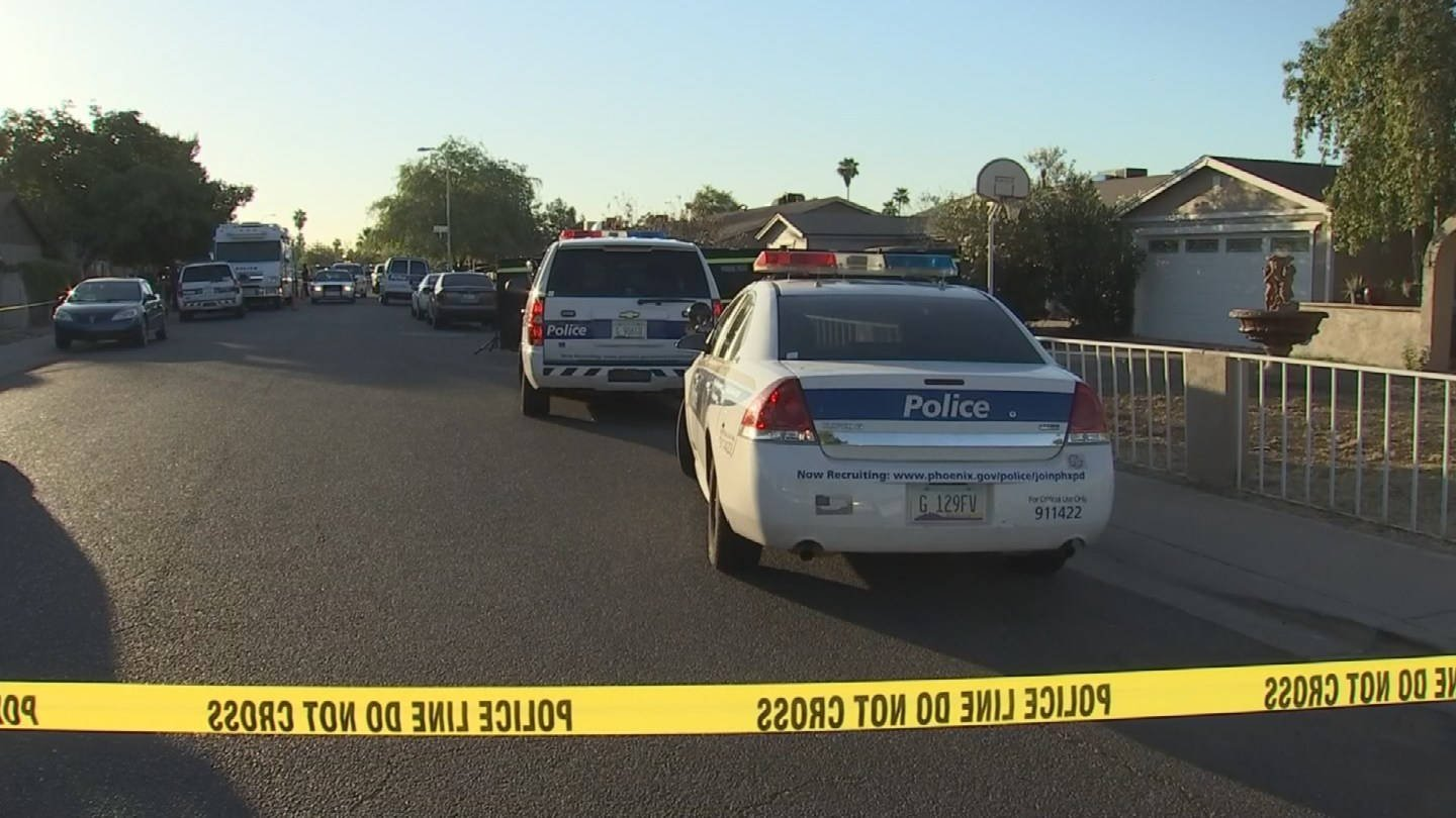 Phoenix police at the scene of one of the shootings. (source: KPHO/KTVK)