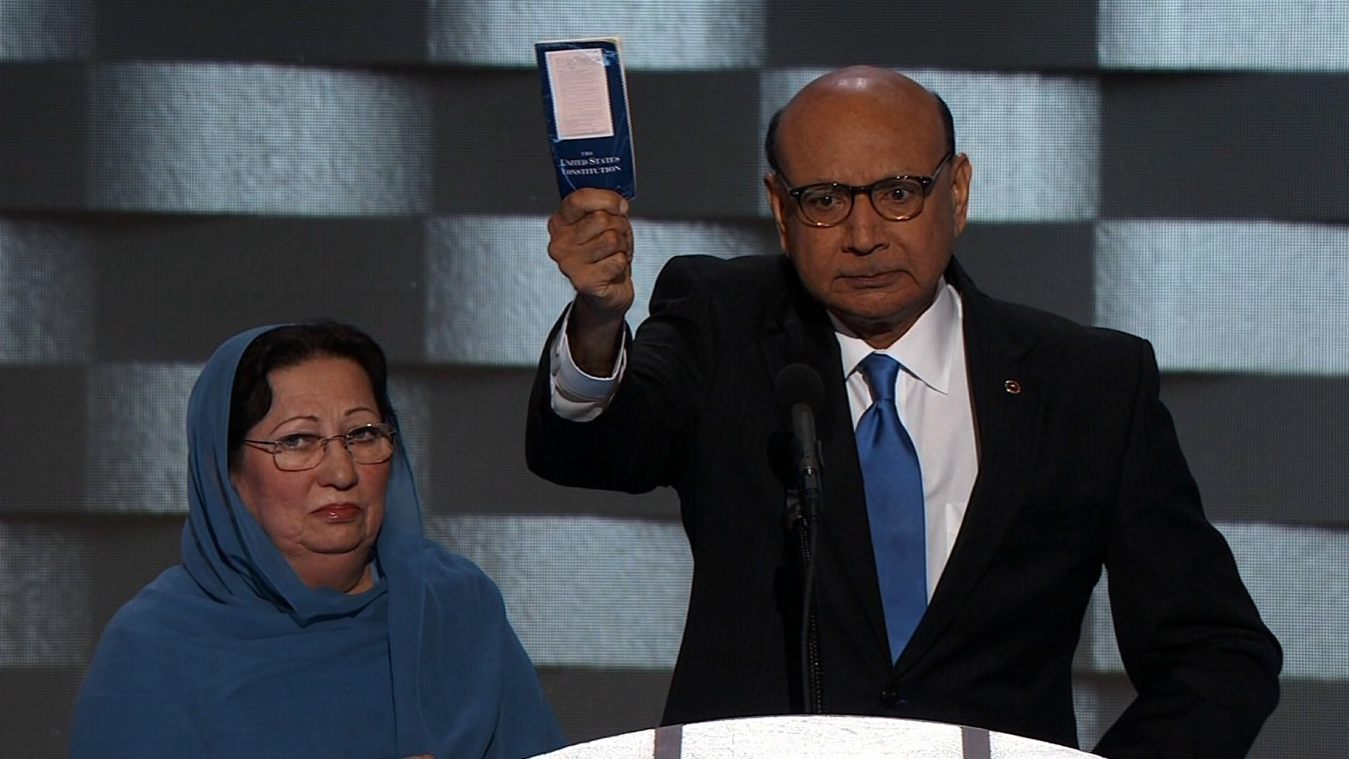 Khizr Khan, whose son was one of 14 muslims serving the U.S. armed forced to die in the years following 9/11, addresses the Democratic National Convention in Philadelphia July 28, 2016. (Source: AP Photo)