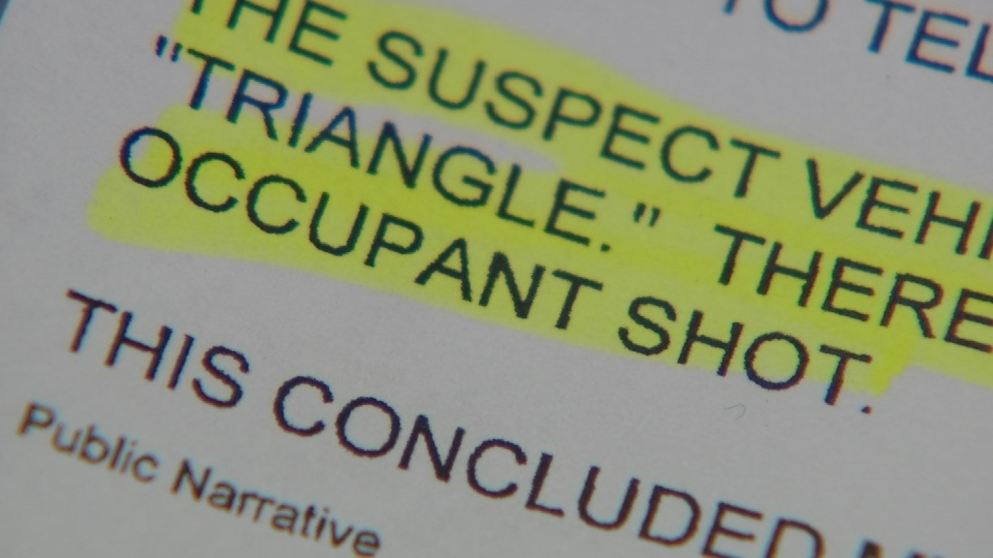 """The suspect vehicle that [the witness] observed was black with headlights that reminded him of a 'triangle,'"" wrote the interviewing officer. ""[The witness] was unsure of which occupant shot."" (Source: KPHO/KTVK)"