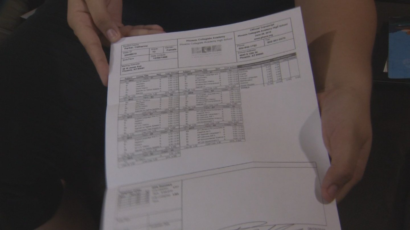 Catherine Parker had trouble with her transcripts and nearly put her college loans on hold. (Source: KPHO/KTVK)