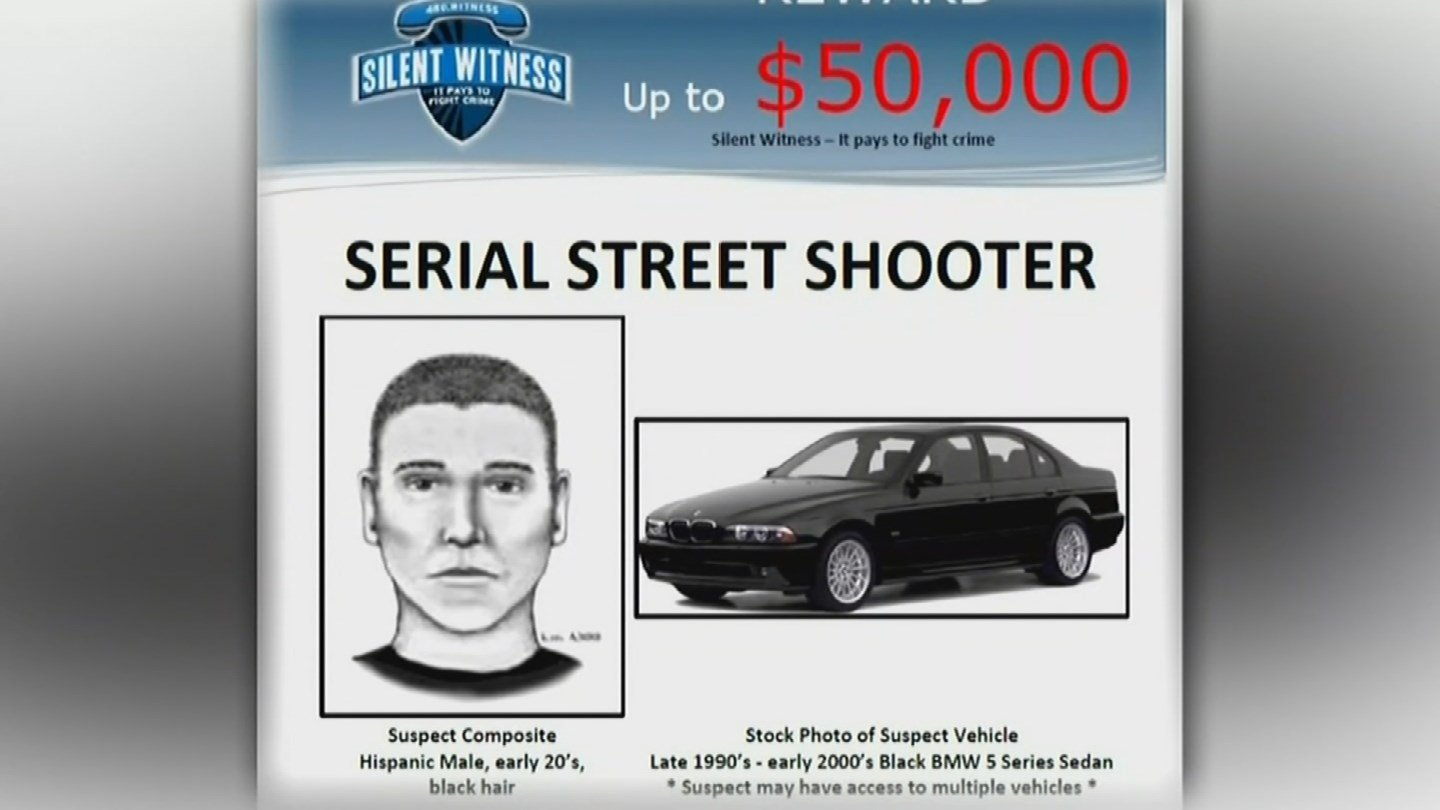 Police are looking for a 90s or early 2000s black BMW 5 series car in connection to the serial shooter case. (Source: KPHO/KTVK)