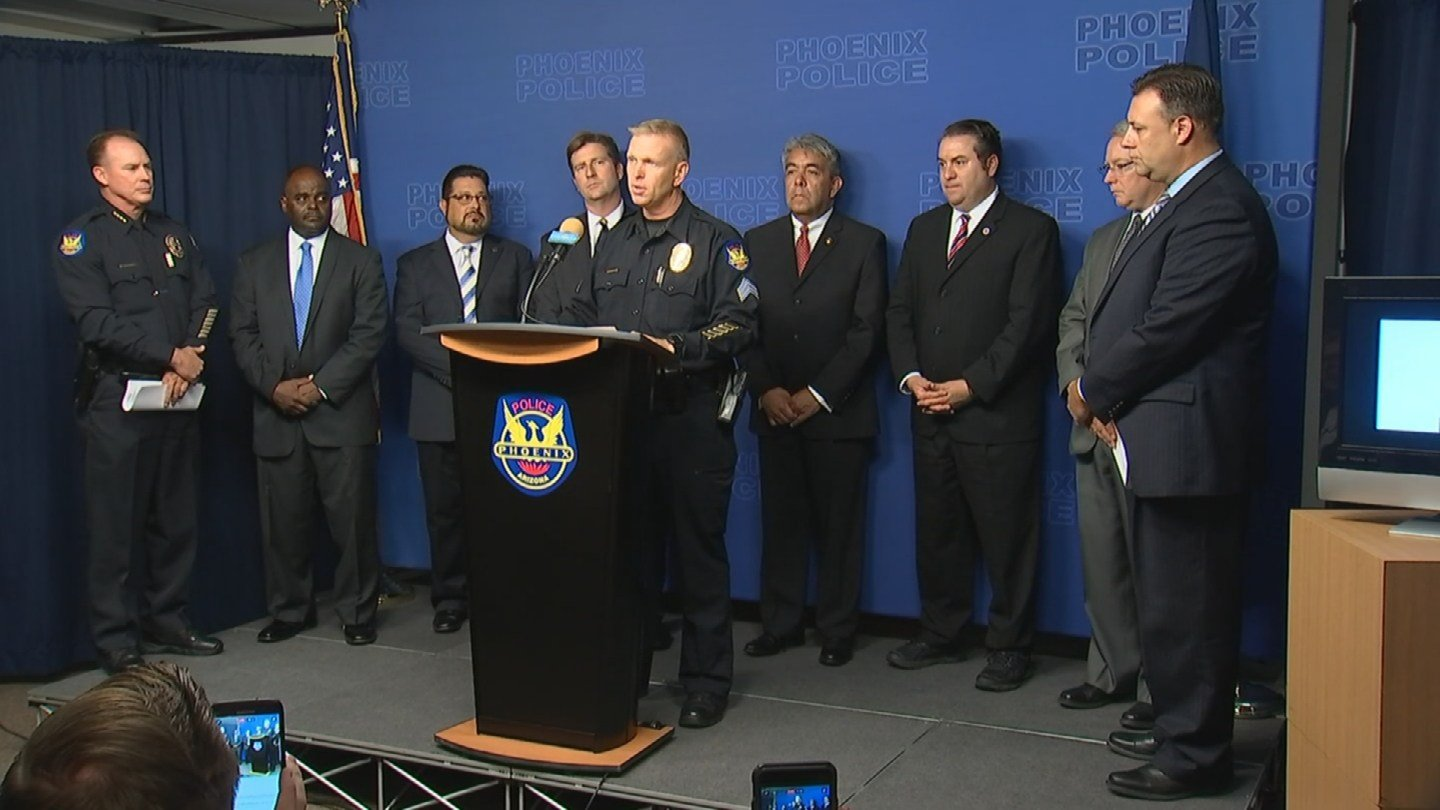 "Officials gather on Aug. 25 to give an update on the ""Serial Street Shooter"" investigation. (Source: KPHO/KTVK)"