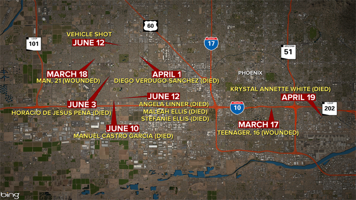 This map shows some of the shooting incidents. (Source: Bing)
