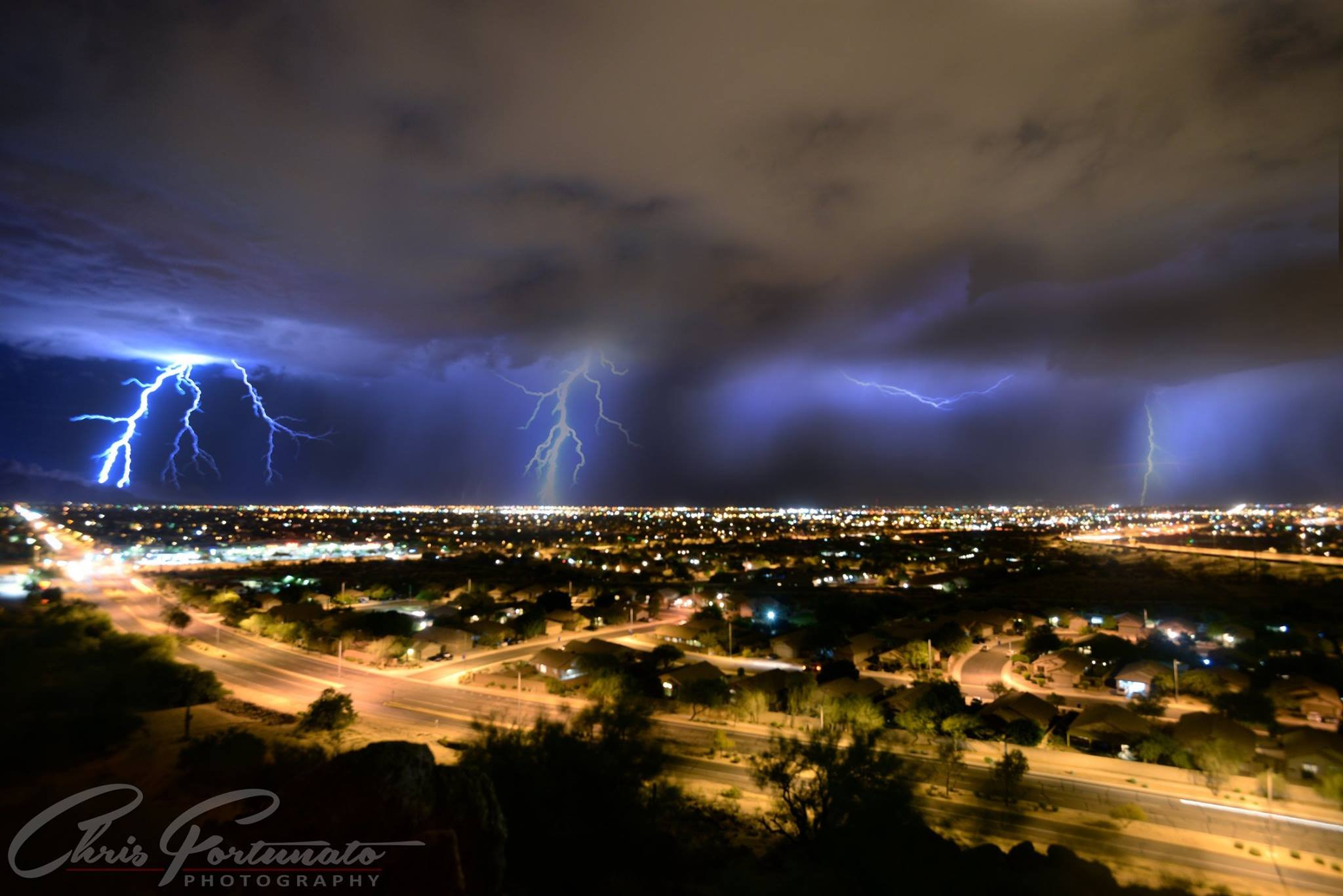 A view of lightning from east Mesa on Aug. 31 (Source: Chris Fortunato)