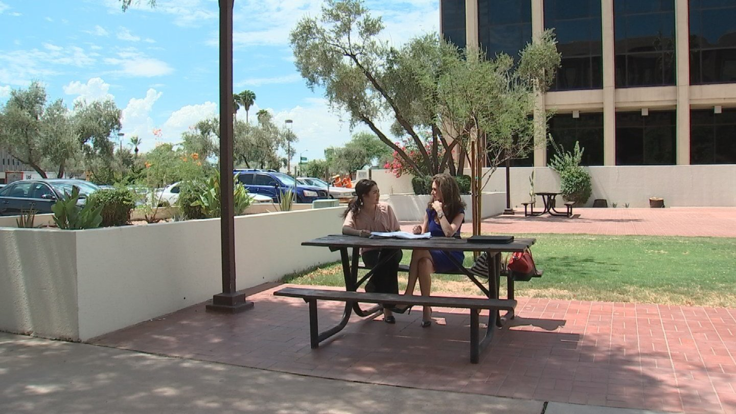 Community activists Julie Reed and Ann O'Brien met with ADC Director Charles Ryan Thursday morning to voice the concerns of their community and present Ryan with signed petitions demanding that the center be relocated. (Source: KPHO/KTVK)
