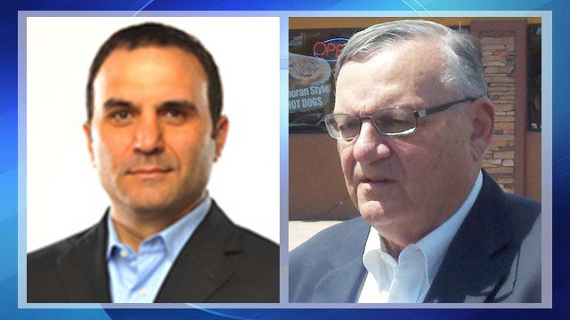 Paul Penzone, left, and County Sheriff Joe Arpaio, right. (Source: KPHO/KTVK)