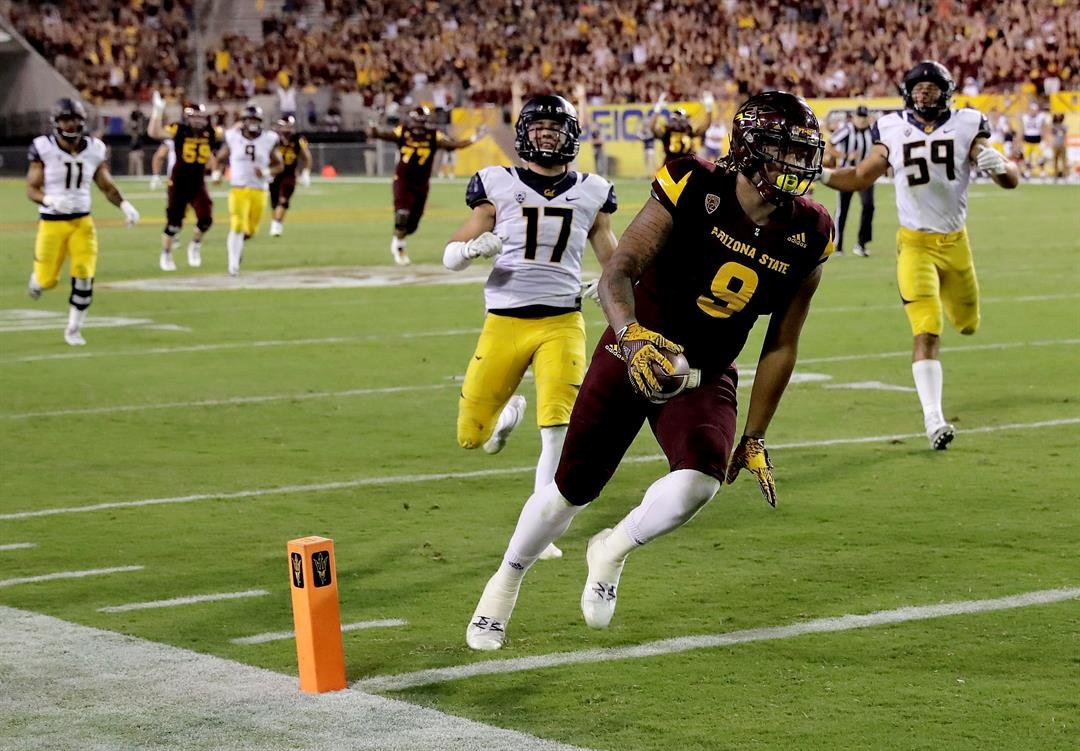 Jay Jay Wilson scores his first career touchdown during ASU's fourth quarter rally (AP Photo/Matt York)