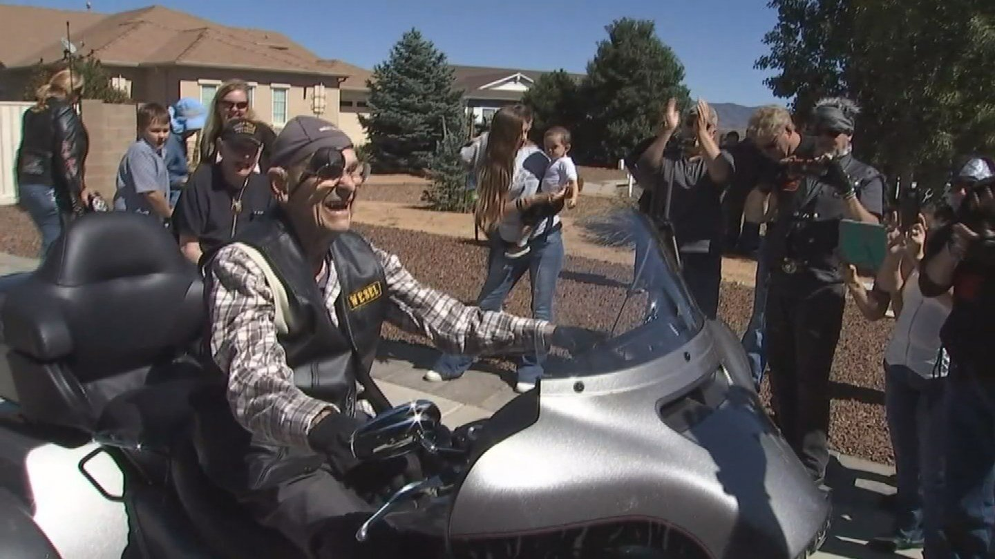 101-year-old Ray Weser went for a final ride on a Harley in Prescott Valley. (Source: KPHO/KTVK)