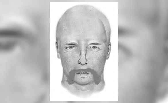 The suspect is described as a white male, around 55 years of age, 5 feet 6 inches tall, 145 pounds, and is completely bald. The suspect has a very large and bushy bright white mustache. (Source: Glendale Police Department)