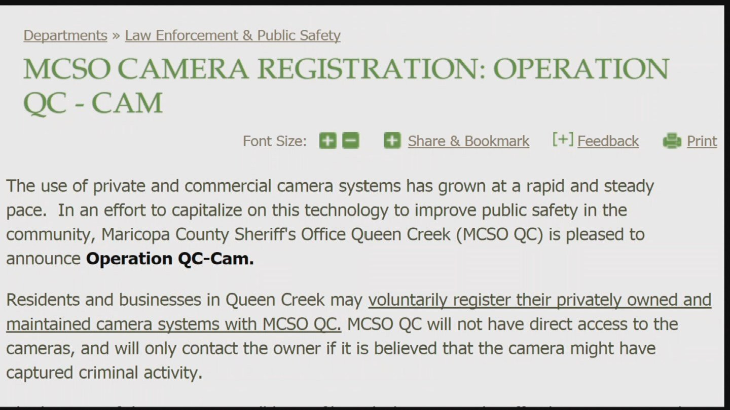 Residents and businesses can voluntarily register their surveillance cameras through MCSO's Operation QC-Cam in Queen Creek. (Source: KPHO/KTVK)