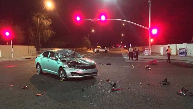 A motorcycle and a car collided at 94th Street and Cactus Road in Scottsdale. (Source: Scottsdale Police Department)