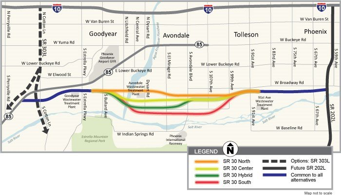 The proposed six-lane freeway would go in south of I-10 and run parallel to it from the Loop 303 to the new 202 South Mountain Freeway. Right now, there are still several possible alignments under consideration. (Source: ADOT.gov)