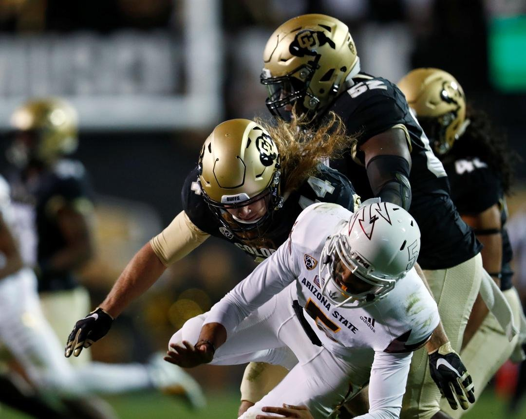 One of 5 sacks allowed by ASU against Colorado (AP Photo/David Zalubowski)