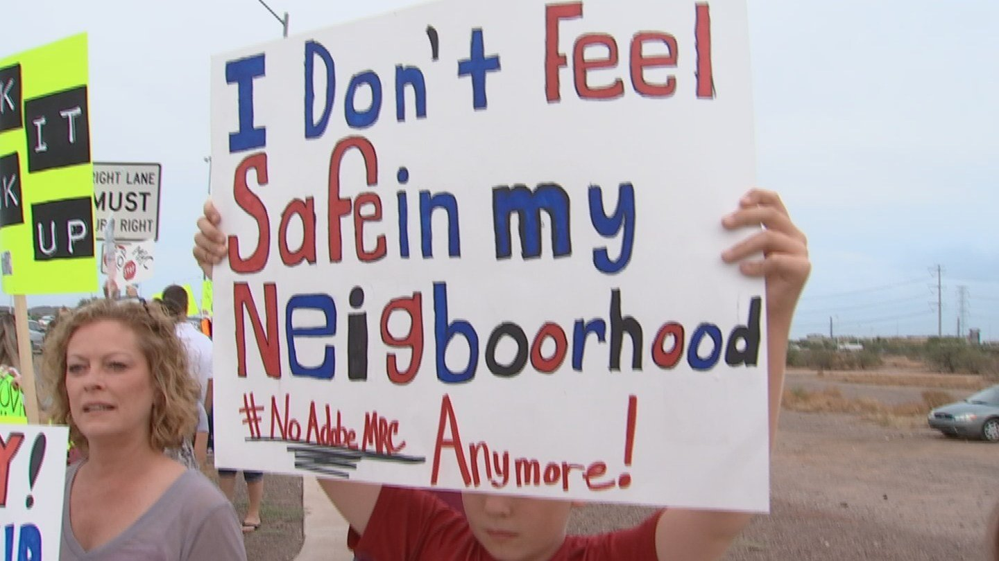 Protesters want the facility shut down. (Source: KPHO/KTVK)