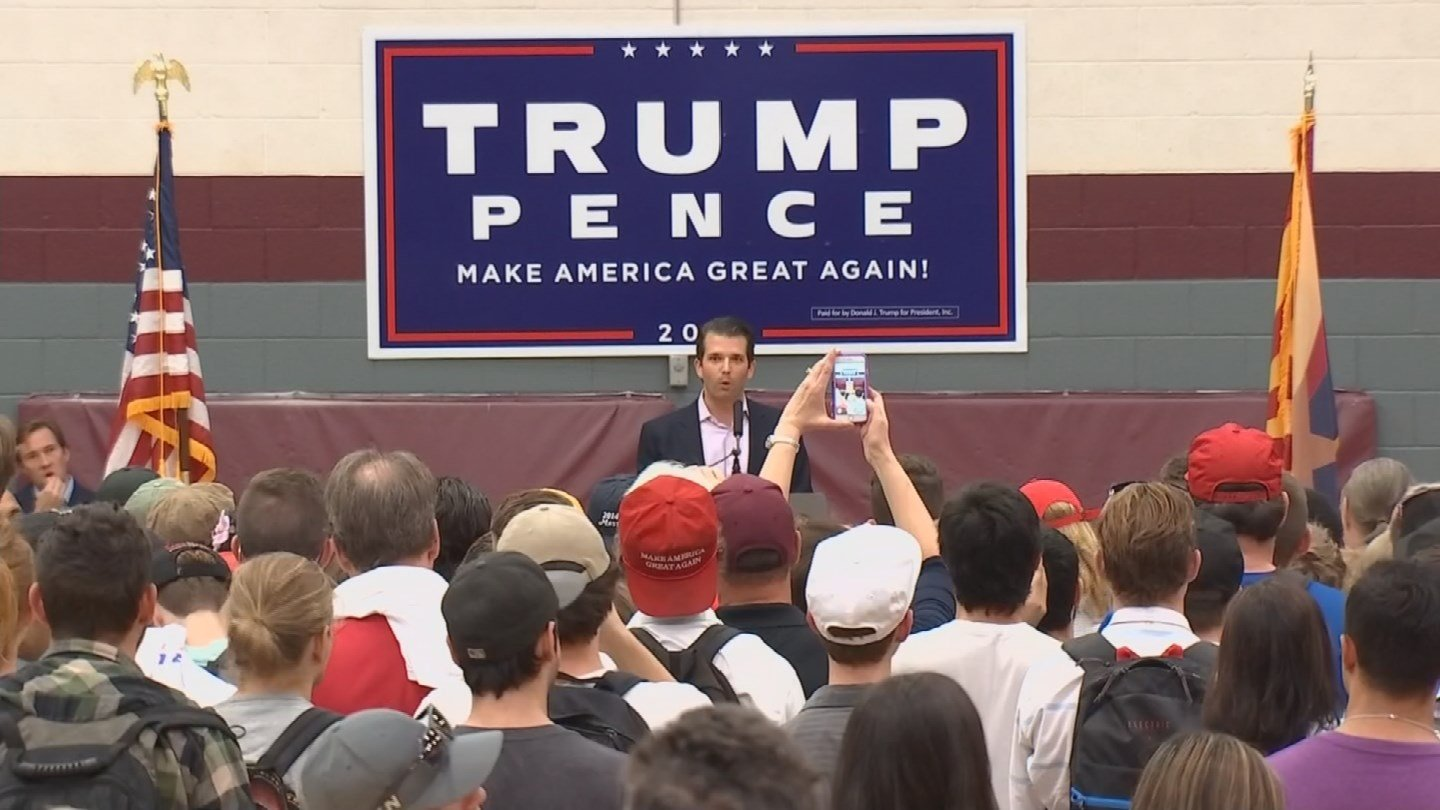 Donald Trump Jr. campaigns for his father at ASU in Tempe. (Source: KPHO/KTVK)