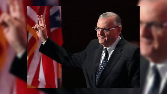 In this July 21, 2016, file photo, Sheriff Joe Arpaio of Arizona walks on the stage to speak during the final day of the Republican National Convention in Cleveland. (Source: AP Photo/Paul Sancya, File)