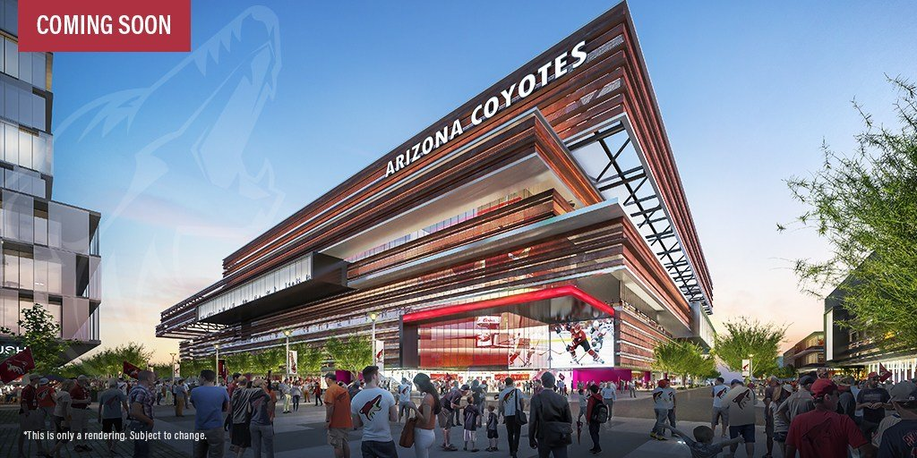 An artist rendering of the outside of the new Coyotes arena. (Source: Arizona Coyotes)